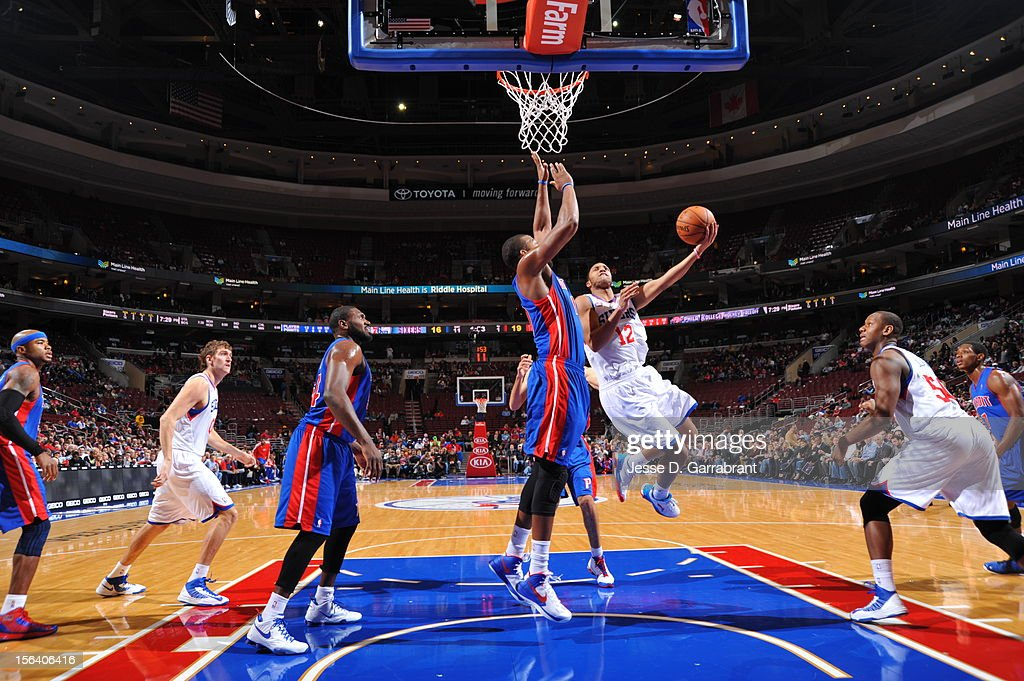 Evan Turner #12 of the Philadelphia 76ers goes to the basket during the game between Detroit Pistons and the Philadelphia 76ers at the Wells Fargo Center on November 14, 2012 in Philadelphia, Pennsylvania.