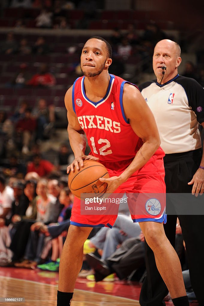Evan Turner #12 of the Philadelphia 76ers handles the ball during the game between the Detroit Pistons and the Philadelphia 76ers on April 15, 2013 at The Palace of Auburn Hills in Auburn Hills, Michigan.