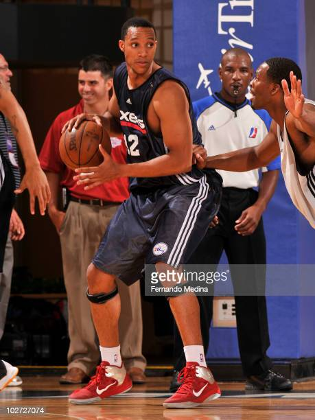 Evan Turner of the Philadelphia 76ers moves the ball against the Charlotte Bobcats during the 2010 AirTran Orlando Summer League on July 8 2010 at...