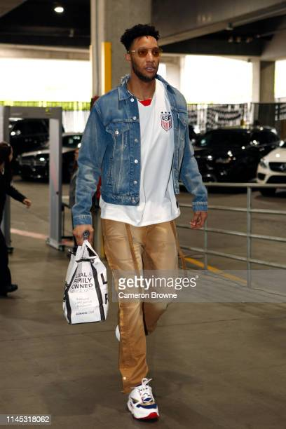 Evan Turner of the Portland Trail Blazers arrives before Game Four of the Western Conference Finals against the Golden State Warriors on May 20 2019...