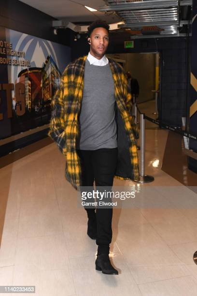 Evan Turner of the Portland Trail Blazers arrives before Game One of the Western Conference Semifinals against the Denver Nuggets during the 2019 NBA...