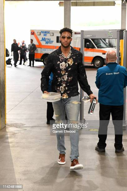 Evan Turner of the Portland Trail Blazers arrives before Game Six of the Western Conference Semifinals against the Denver Nuggets during the 2019 NBA...