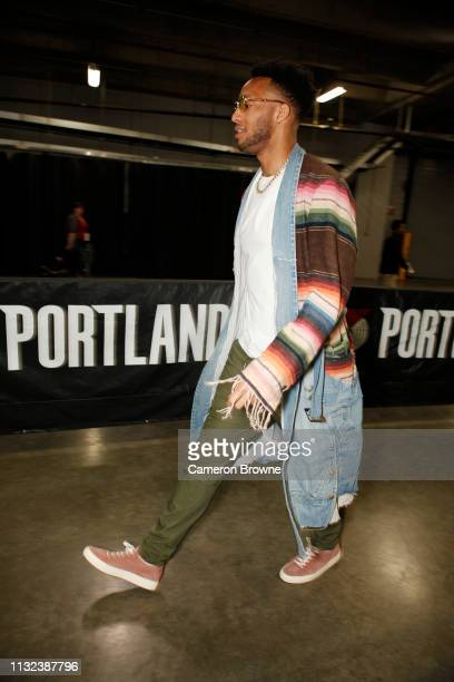 Evan Turner of the Portland Trail Blazers arrives prior to a game against the Detroit Pistons on March 23 2019 at the Moda Center Arena in Portland...
