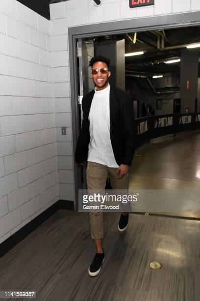 Evan Turner of the Portland Trail Blazers arrives prior to a game against the Denver Nuggets before Game Four of the Western Conference Semifinals on...