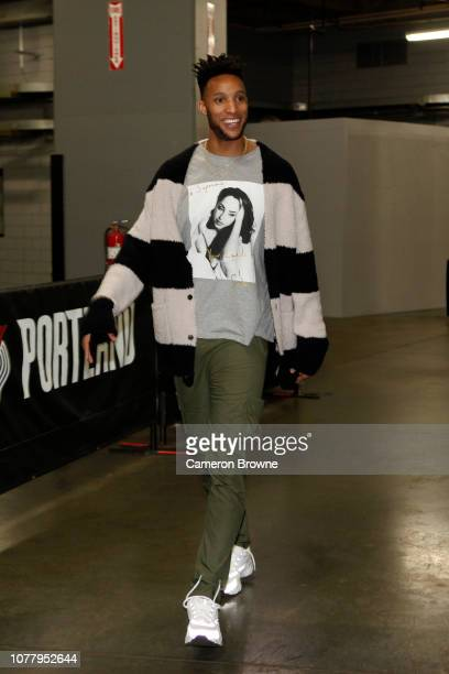 Evan Turner of the Portland Trail Blazers arrives to the arena before the game against the Houston Rockets on January 5 2019 at the Moda Center Arena...