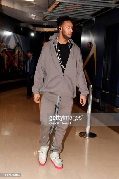 Evan Turner of the Portland Trail Blazers arrives to the arena prior to Game Five of the Western Conference SemiFinals of the 2019 NBA Playoffs...