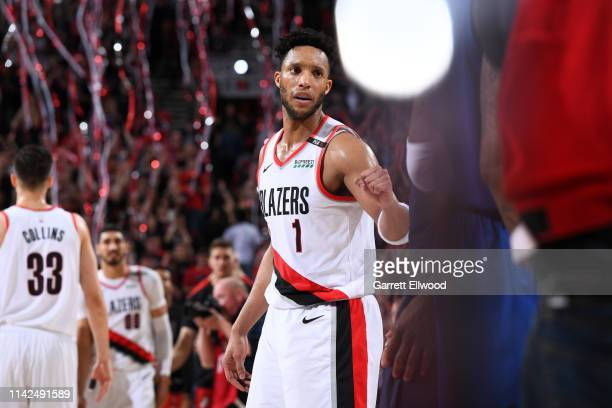 Evan Turner of the Portland Trail Blazers celebrates after Game Six of the Western Conference Semifinals against the Denver Nuggets during the 2019...