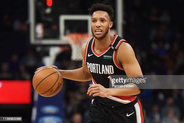 Evan Turner of the Portland Trail Blazers dribbles the ball against the Minnesota Timberwolves during the game on April 1 2019 at the Target Center...