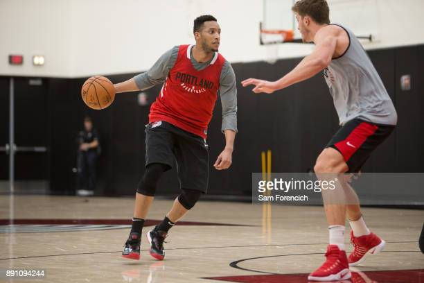 Evan Turner of the Portland Trail Blazers dribbles the ball during an all access practice on December 7 2017 at the Trail Blazer Practice Facility in...