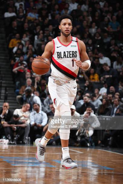 Evan Turner of the Portland Trail Blazers dribbles the ball during the game against the Brooklyn Nets on February 21 2019 at Barclays Center in...