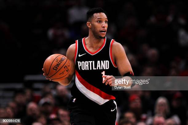 Evan Turner of the Portland Trail Blazers dribbles the ball in the fourth quarter against the Chicago Bulls at the United Center on January 1 2018 in...