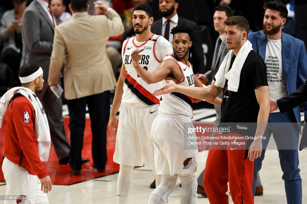 DENVER NUGGETS VS PORTLAND TRAIL BLAZERS, NBA PLAYOFFS : News Photo