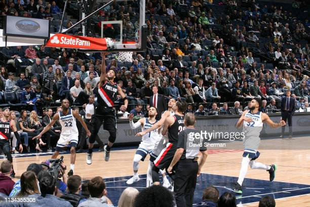 Evan Turner of the Portland Trail Blazers goes to the basket against the Minnesota Timberwolves on April 1 2019 at Target Center in Minneapolis...