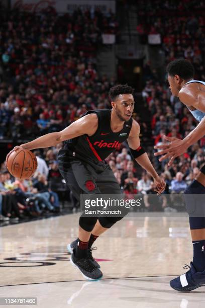 Evan Turner of the Portland Trail Blazers handles the ball against the Memphis Grizzlies on April 3 2019 at the Moda Center in Portland Oregon NOTE...