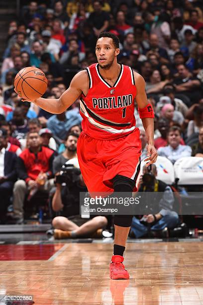 Evan Turner of the Portland Trail Blazers handles the ball against the LA Clippers on November 09 2016 at STAPLES Center in Los Angeles California...