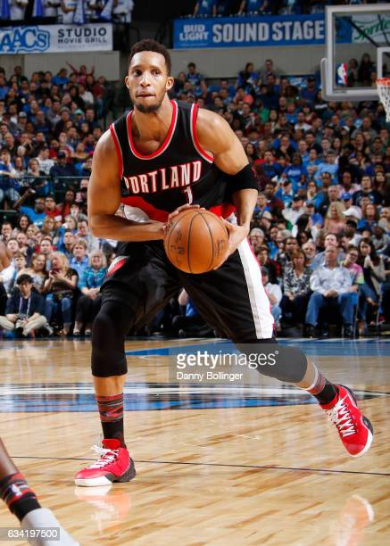 Evan Turner of the Portland Trail Blazers handles the ball against the Dallas Mavericks on February 7 2017 at the American Airlines Center in Dallas...