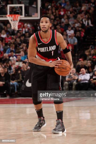 Evan Turner of the Portland Trail Blazers handles the ball against the LA Clippers on October 26 2017 at the Moda Center in Portland Oregon NOTE TO...