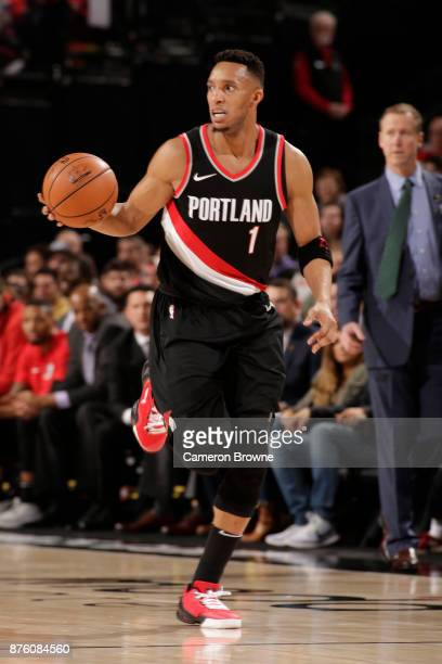 Evan Turner of the Portland Trail Blazers handles the ball against the Sacramento Kings on November 18 2017 at the Moda Center in Portland Oregon...