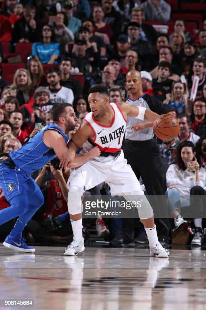 Evan Turner of the Portland Trail Blazers handles the ball against the Dallas Mavericks on January 20 2018 at the Moda Center in Portland Oregon NOTE...
