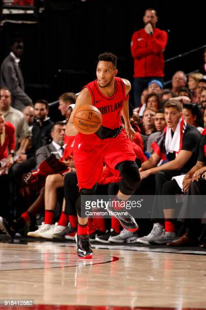 Evan Turner of the Portland Trail Blazers handles the ball against the Orlando Magic on February 14 2018 at the Moda Center in Portland Oregon NOTE...