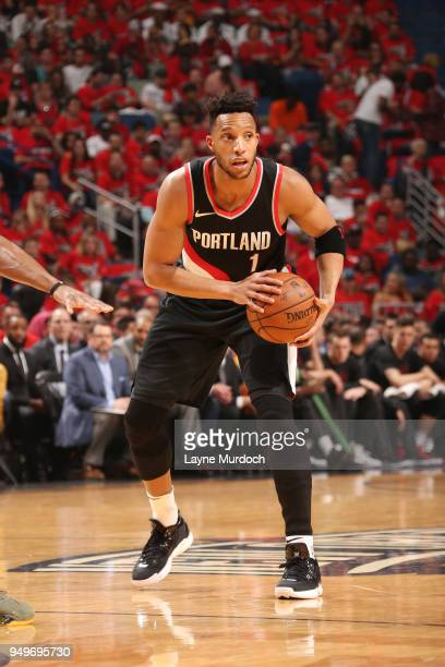 Evan Turner of the Portland Trail Blazers handles the ball against the New Orleans Pelicans in Game Four of Round One of the 2018 NBA Playoffs on...