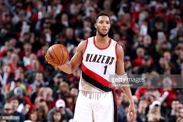Evan Turner of the Portland Trail Blazers handles the ball during the game against the Houston Rockets on November 27 2016 at the Moda Center in...