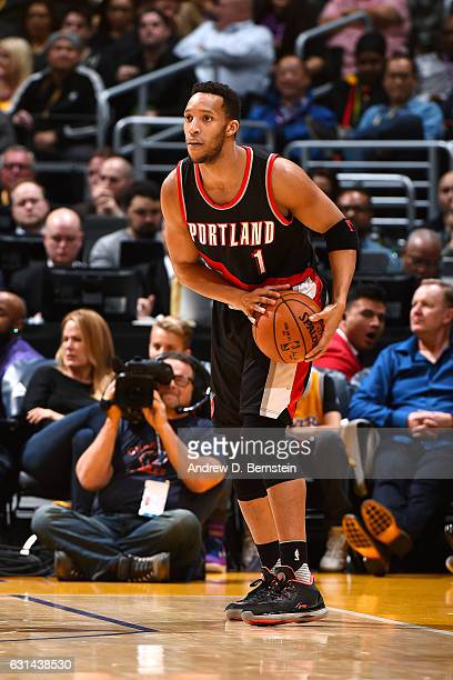 Evan Turner of the Portland Trail Blazers handles the ball during the game against the Los Angeles Lakers on January 10 2017 at STAPLES Center in Los...