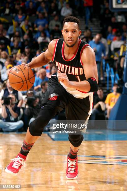 Evan Turner of the Portland Trail Blazers handles the ball during the game against the Oklahoma City Thunder on February 5 2017 at Chesapeake Energy...