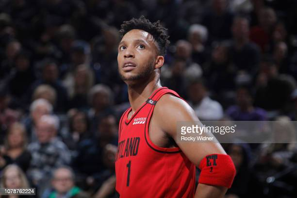 Evan Turner of the Portland Trail Blazers looks on during the game against the Sacramento Kings on January 1 2019 at Golden 1 Center in Sacramento...