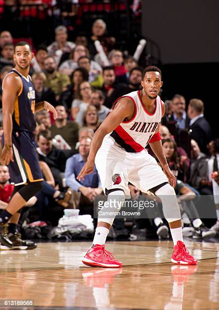 Evan Turner of the Portland Trail Blazers looks on during the game against the Utah Jazz on October 3 2016 at the Moda Center Arena in Portland...