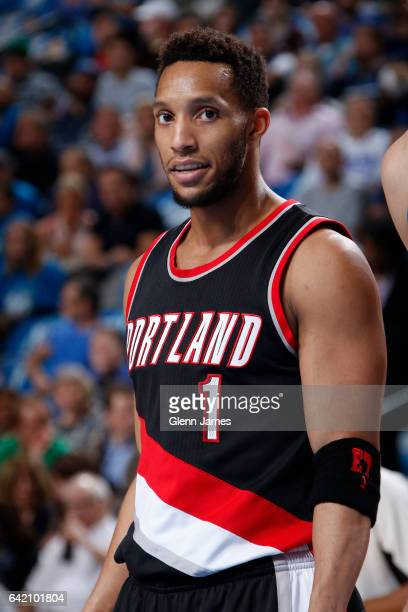 Evan Turner of the Portland Trail Blazers looks on during the game against the Dallas Mavericks on February 7 2017 at the American Airlines Center in...