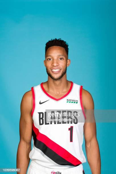 Evan Turner of the Portland Trail Blazers poses for a head shot during the Portland Trail Blazers Media on September 24 2018 at the Moda Center in...