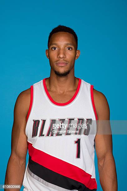 Evan Turner of the Portland Trail Blazers poses for a headshot during the 20162017 Portland Trail Blazers media day on September 26 2016 at the Rose...