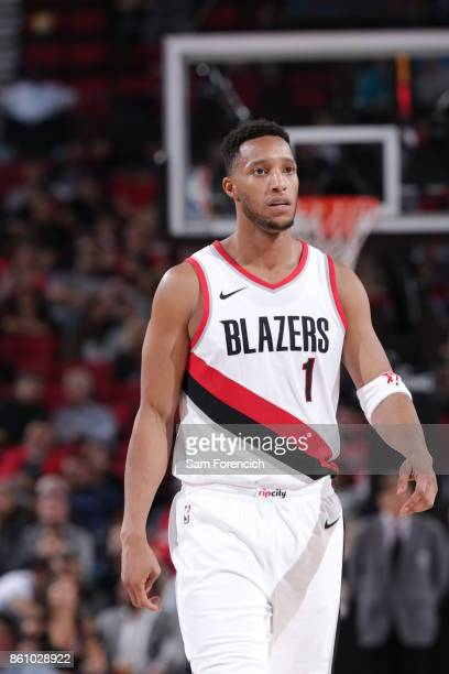 Evan Turner of the Portland Trail Blazers reacts during a pre season game against the Toronto Raptors on October 5 2017 at the Moda Center in...