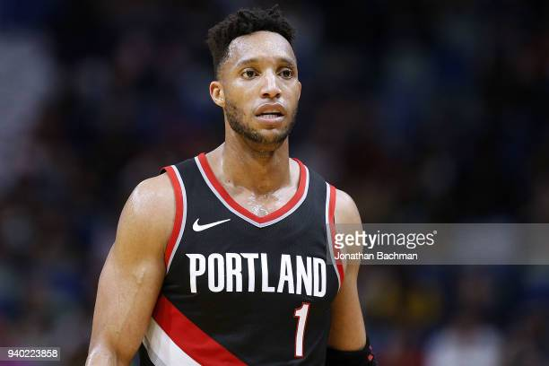 Evan Turner of the Portland Trail Blazers reacts during the first half against the New Orleans Pelicans at the Smoothie King Center on March 27 2018...