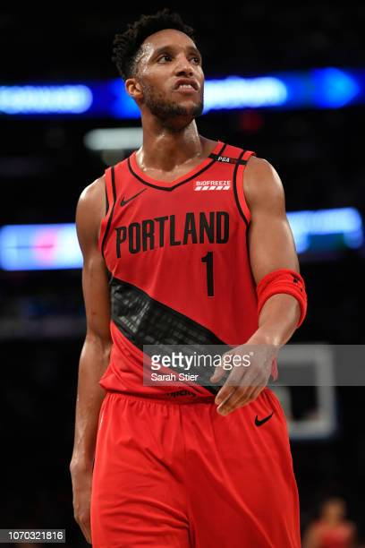 Evan Turner of the Portland Trail Blazers reacts during the third quarter of the game against New York Knicks at Madison Square Garden on November 20...