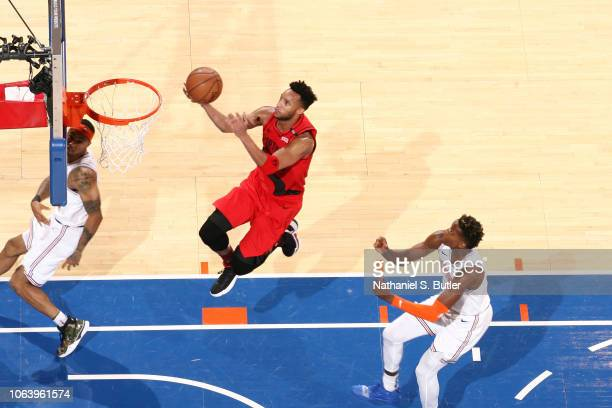 Evan Turner of the Portland Trail Blazers shoots the ball against the New York Knicks on November 20 2018 at Madison Square Garden in New York City...