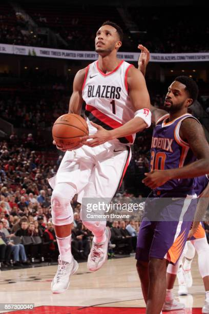 Evan Turner of the Portland Trail Blazers shoots the ball during a preseason game against the Phoenix Suns on October 3 2017 at the Moda Center in...