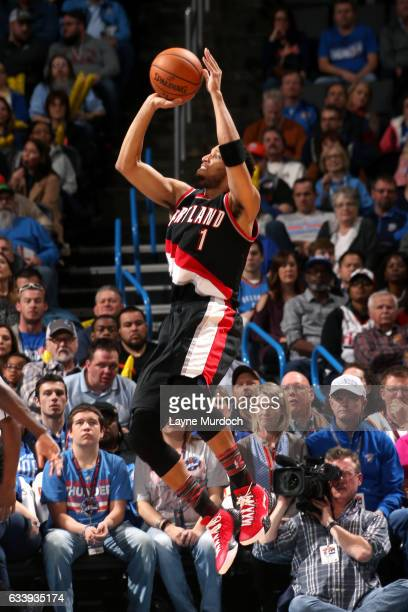 Evan Turner of the Portland Trail Blazers shoots the ball during the game against the Oklahoma City Thunder on February 5 2017 at Chesapeake Energy...
