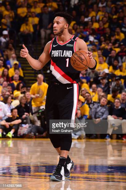 Evan Turner of the Portland Trail Blazers signals to team during Game One of the 2019 Western Conference Finals of the NBA Playoffs at the ORACLE...