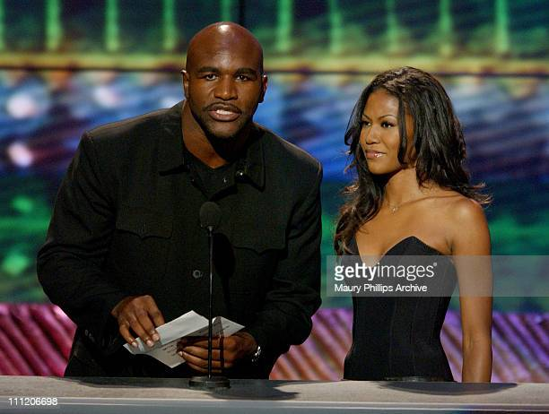 Evander Holyfield Amerie during The 8th Annual Soul Train 'Lady of Soul' Awards Show at Pasadena Civic Auditorium in Pasadena California United States