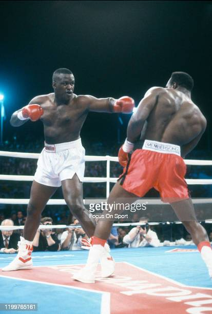 Evander Holyfield and Buster Douglas fight for the WBC WBA and IBF heavyweight tittle on October 25 1990 at The Mirage in Las Vegas Nevada Holyfield...