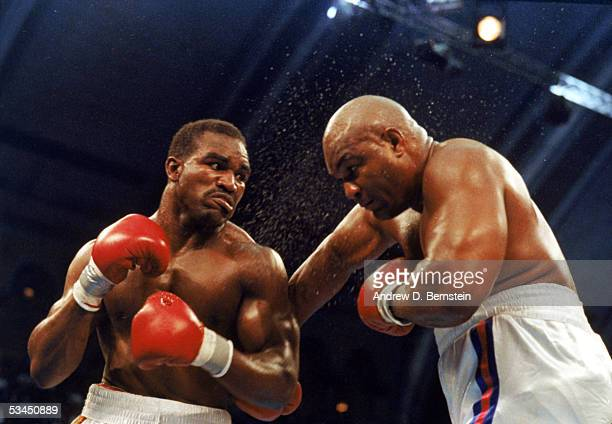 Evander Holyfield and George Foreman compete for the WBC WBA IBF Heavyweight Titles in a bout schedule for twelve rounds at the Trump Plaza...