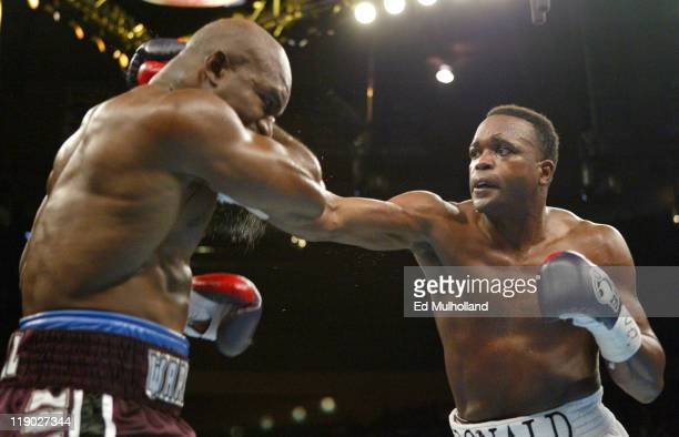 Evander Holyfield and Larry Donald trade punches during their 12 round heavyweight bout in New York City at Madison Square Garden on November 13 2004...
