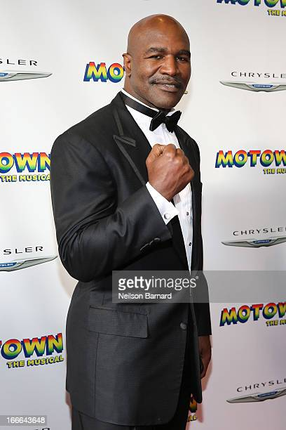 "Evander Holyfield attends the Broadway opening night for ""Motown: The Musical"" at Lunt-Fontanne Theatre on April 14, 2013 in New York City."