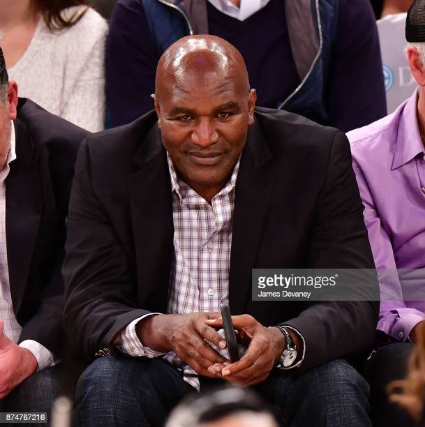 Evander Holyfield attends the Utah Jazz Vs New York Knicks game at Madison Square Garden on November 15 2017 in New York City
