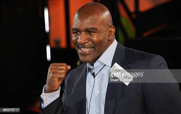 Evander Holyfield enters the Celebrity Big Brother House at Elstree Studios on January 3 2014 in Borehamwood England