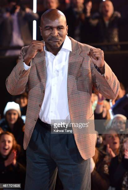 Evander Holyfield is evicted from the Celebrity Big Brother house at Elstree Studios on January 10 2014 in Borehamwood England