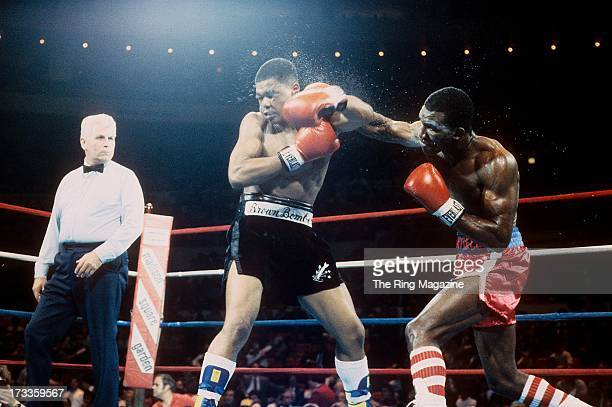 Evander Holyfield lands a punch against Lionel Byarm during the fight at Madison Square Garden in New York New York Evander Holyfield won by a UD 6...