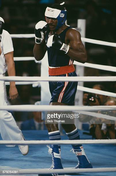 Evander Holyfield of the USA in the ring during the semifinal of the Light Heavyweight boxing event at the Los Angeles Memorial Sports Arena during...